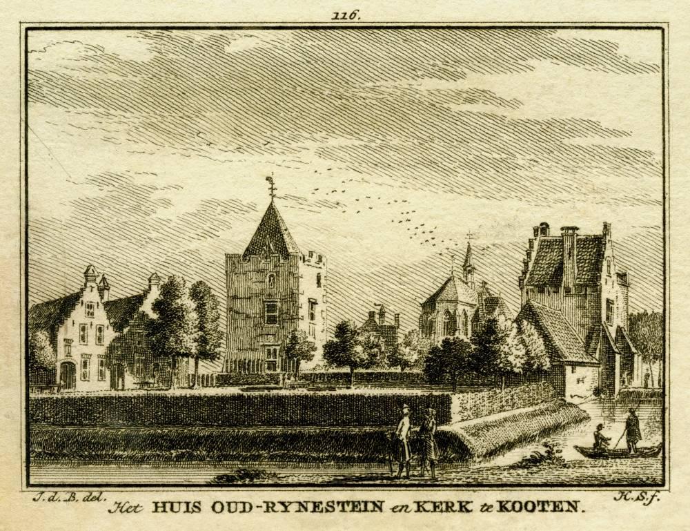 Kasteel Rhijnestein in Cothen. Tekening Jan de Beijer, gravure Hendrik Spilman (Uit: Het Verheerlykt Nederland, Isaac Tirion, 1745/1774)
